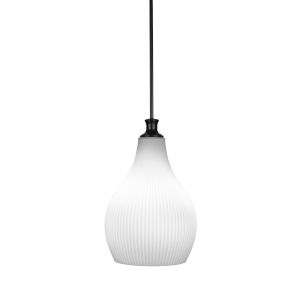 Carina Matte Black One-Light 19-Inch Stem Hung Pendant with Opal Frosted Glass