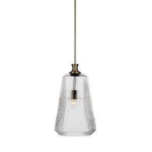 Carina New Age Brass One-Light 18-Inch Stem Hung Pendant with Clear Ribbed Glass