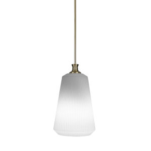 Carina New Age Brass One-Light 18-Inch Stem Hung Pendant with Opal Frosted Glass