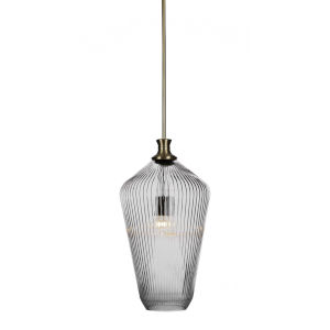Carina New Age Brass One-Light 20-Inch Stem Hung Pendant with Clear Ribbed Glass