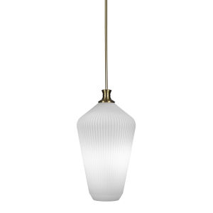 Carina New Age Brass One-Light 20-Inch Stem Hung Pendant with Opal Frosted Glass