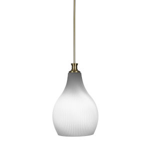 Carina New Age Brass One-Light 19-Inch Stem Hung Pendant with Opal Frosted Glass