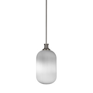 Carina Brushed Nickel One-Light 15-Inch Stem Hung Mini Pendant with Opal Frosted Glass