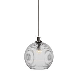 Carina Brushed Nickel One-Light 15-Inch Stem Hung Pendant with Clear Ribbed Glass