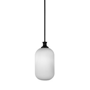 Carina Matte Black Eight-Inch One-Light Mini Pendant with Opal Frosted Glass Shade