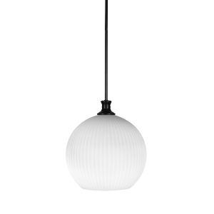 Carina Matte Black One-Light 15-Inch Stem Hung Pendant with Opal Frosted Glass