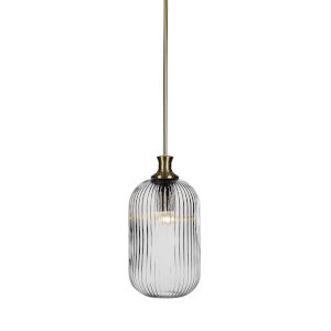 Carina New Age Brass One-Light 15-Inch Stem Hung Mini Pendant with Clear Ribbed Glass