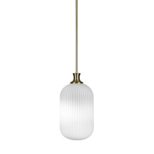 Carina New Age Brass One-Light 15-Inch Stem Hung Mini Pendant with Opal Frosted Glass