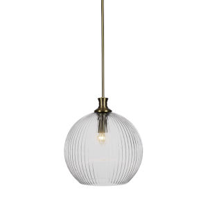 Carina New Age Brass One-Light 15-Inch Stem Hung Pendant with Clear Ribbed Glass