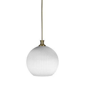 Carina New Age Brass One-Light 15-Inch Stem Hung Pendant with Opal Frosted Glass