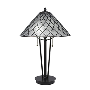 Any Dark Granite 16-Inch Two-Light Table Lamp with Diamond Ice Tiffany