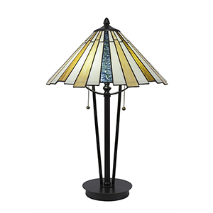 Any Dark Granite 16-Inch Two-Light Table Lamp with Sequoia Tiffany