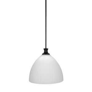 Carina Matte Black 14-Inch One-Light Pendant with Opal Frosted Glass Shade