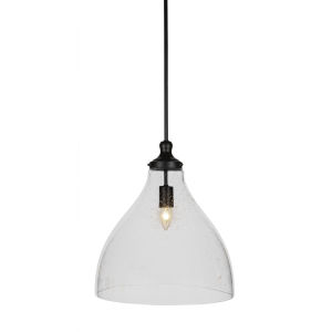 Juno Matte Black One-Light Pendant with Clear Bubble Glass Shade