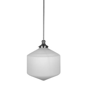 Carina Brushed Nickel 14-Inch One-Light Pendant with Opal Frosted Glass Shade