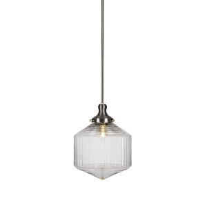 Carina Brushed Nickel One-Light 13-Inch Stem Hung Pendant with Clear Ribbed Glass