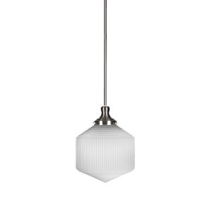 Carina Brushed Nickel One-Light 10-Inch Stem Hung Pendant with Opal Frosted Glass