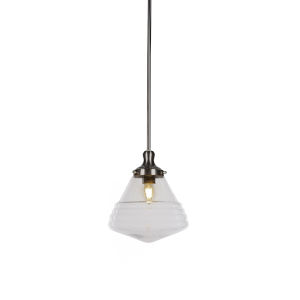 Juno Brushed Nickel One-Light Mini Pendant with Clear Bubble Glass Shade