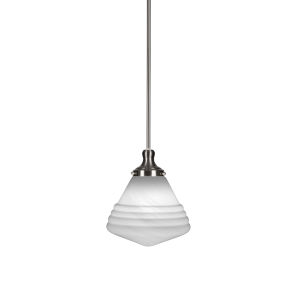 Juno Brushed Nickel One-Light 12-Inch Stem Hung Pendant with White Marble Glass