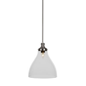 Juno Brushed Nickel One-Light 14-Inch Stem Hung Pendant with Clear Bubble Glass