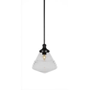 Juno Matte Black One-Light 12-Inch Stem Hung Pendant with Clear Bubble Glass