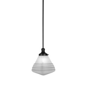 Juno Matte Black One-Light Mini Pendant with White Marble Glass Shade