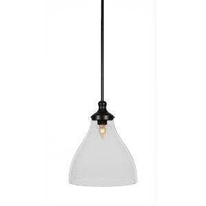 Juno Matte Black One-Light 14-Inch Stem Hung Pendant with Clear Bubble Glass