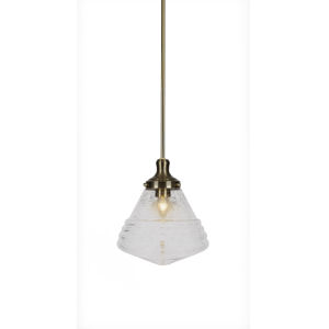Juno New Age Brass One-Light 12-Inch Stem Hung Pendant with Clear Bubble Glass