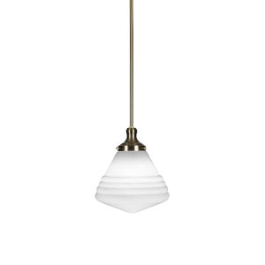 Juno New Age Brass One-Light 12-Inch Stem Hung Pendant with White Marble Glass