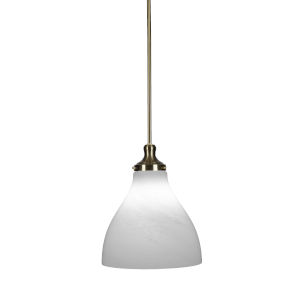 Juno New Age Brass One-Light 14-Inch Stem Hung Pendant with White Marble Glass