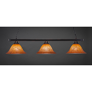 Square Black Copper 14-Inch Three-Light Island Pendant with Tiger Glass