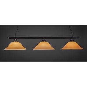 Square Black Copper 16-Inch Three-Light Island Pendant with Cayenne Linen Glass