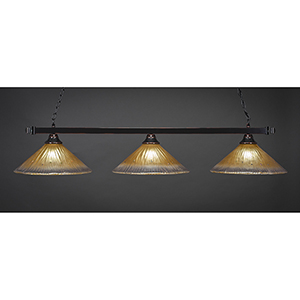 Square Black Copper 16-Inch Three-Light Island Pendant with Amber Crystal Glass