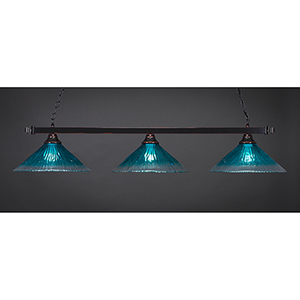 Square Black Copper 16-Inch Three-Light Island Pendant with Teal Crystal Glass