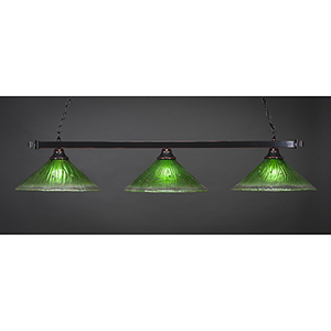 Square Black Copper 16-Inch Three-Light Island Pendant with Kiwi Green Crystal Glass