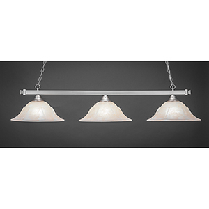 Square Brushed Nickel 16-Inch Three-Light Island Pendant with Amber Marble Glass