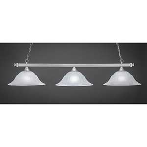 Square Brushed Nickel 16-Inch Three-Light Island Pendant with White Marble Glass