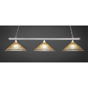 Square Brushed Nickel 16-Inch Three-Light Island Pendant with Amber Crystal Glass