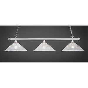 Square Brushed Nickel 16-Inch Three-Light Island Pendant with Gold Ice Glass