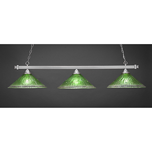Square Brushed Nickel 16-Inch Three-Light Island Pendant with Kiwi Green Crystal Glass