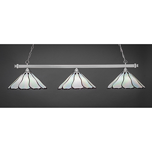 Square Brushed Nickel 16-Inch Three-Light Island Pendant with Pearl and Black Flair Tiffany Glass