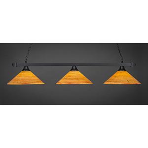 Square Matte Black 16-Inch Three-Light Island Pendant with Firré Saturn Glass