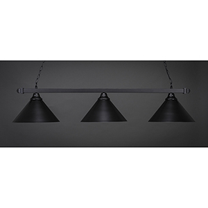 Square Matte Black 16-Inch Three-Light Island Pendant with Double Bubble Metal Shade