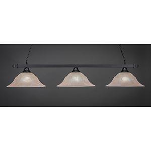Square Matte Black 16-Inch Three-Light Island Pendant with Amber Marble Glass
