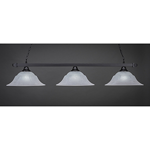 Square Matte Black 16-Inch Three-Light Island Pendant with White Marble Glass
