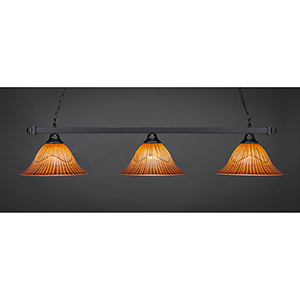 Square Matte Black 14-Inch Three-Light Island Pendant with Tiger Glass