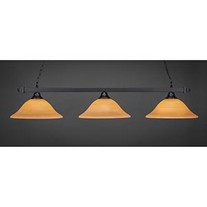Square Matte Black 16-Inch Three-Light Island Pendant with Cayenne Linen Glass