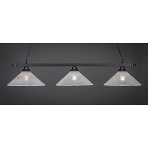 Square Matte Black 16-Inch Three-Light Island Pendant with Gold Ice Glass