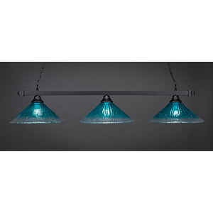 Square Matte Black 16-Inch Three-Light Island Pendant with Teal Crystal Glass
