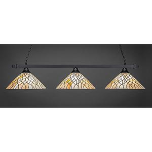 Square Matte Black 16-Inch Three-Light Island Pendant with Sandhill Tiffany Glass
